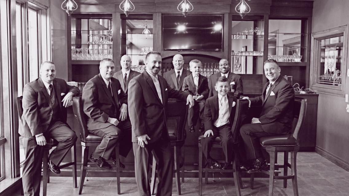 groomsmen at bar